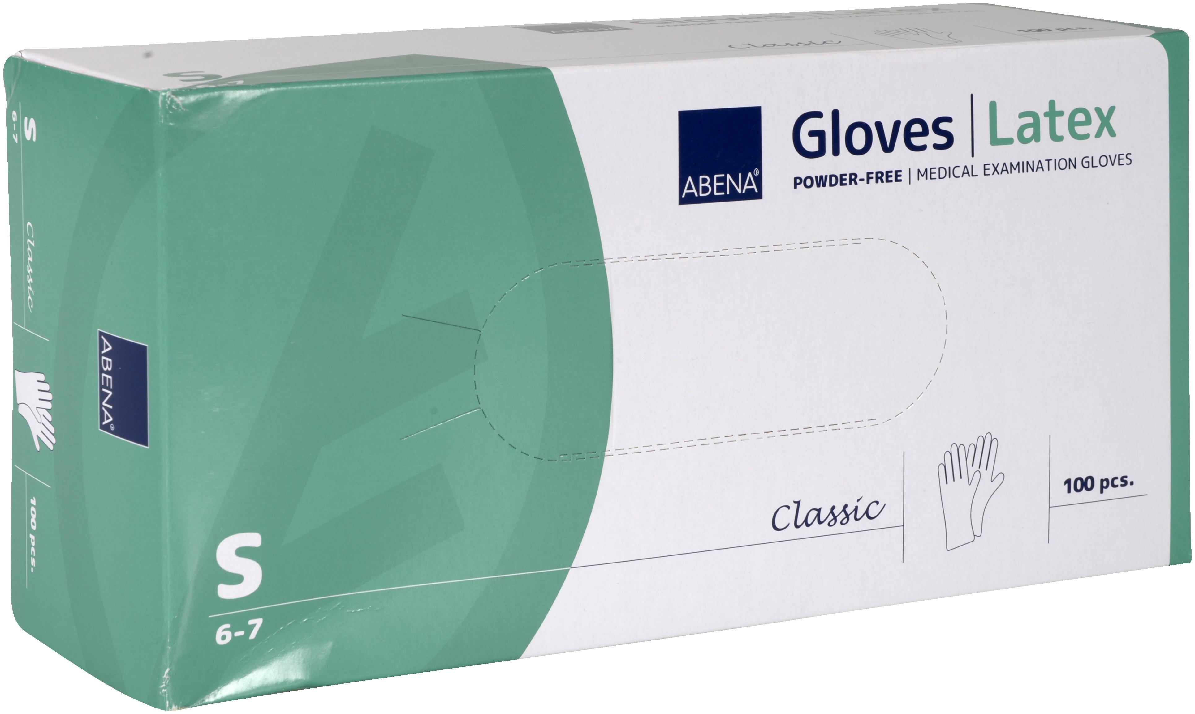 Abena Classic Latex Handschuh Größe S, 10 x 100 Stück, puderfrei, weiß, Gr. S