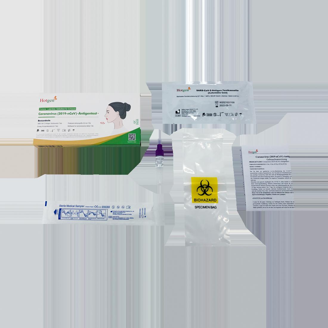 Hotgen Novel Coronavirus (2019-nCoV) Antigen Schnelltest, Selbsttest für Zuhause (Laientest), einzeln verpackt