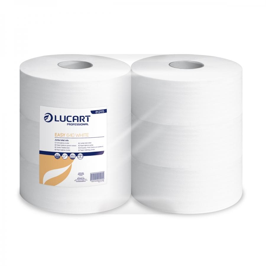 Lucart Prof. Easy 640 White, Toilettenpapier, Jumborolle, 1-lagig, Maxi, recycled, 640 m, 6 Rollen/Sack