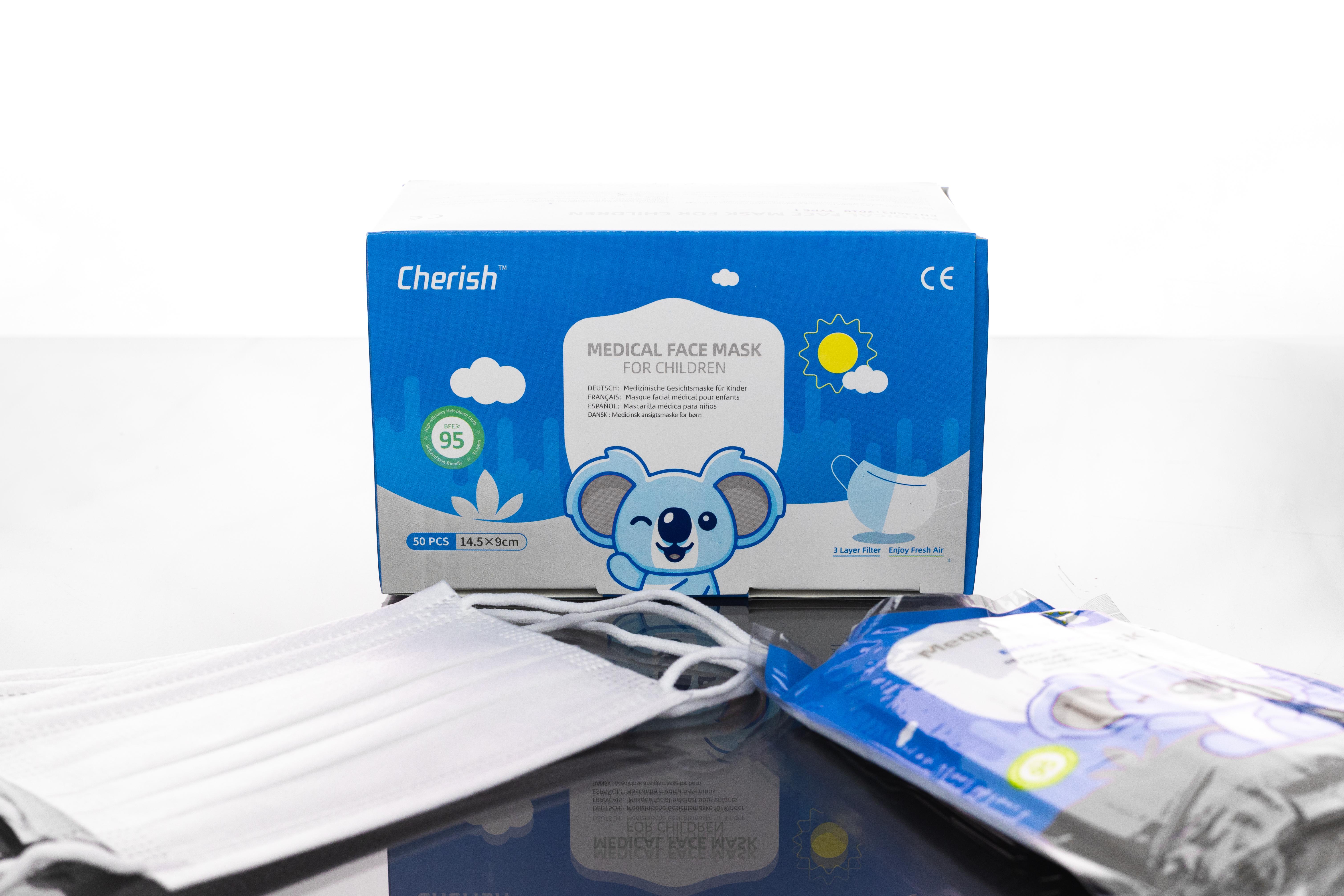 Medizinische Gesichtsmaske für Kinder, EN 14683, 50 Stück/Box, blau