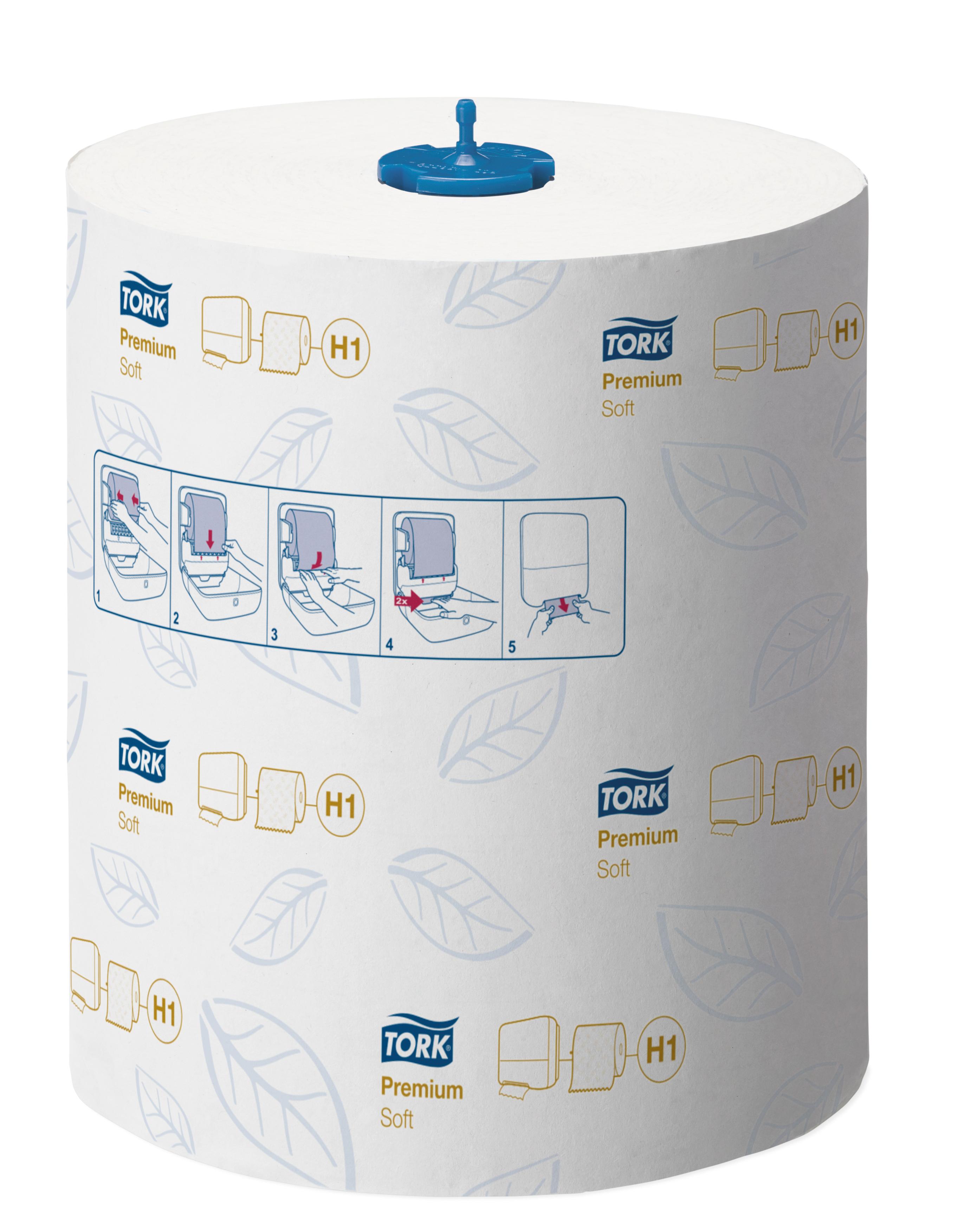 Tork Matic Premium Soft H1 Rollenhandtuch 2-lagig, 6 Rollen á 408 Tücher, Außenabrollung, weiß, 21 cm x 100 m
