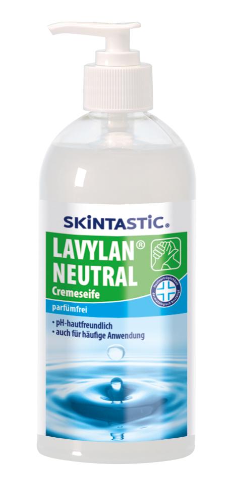 Skintastic Cremeseife Lavylan Neutral im Pumpspender, parfümfrei, rückfettend, dermatologisch getestet, weiß, 500 ml