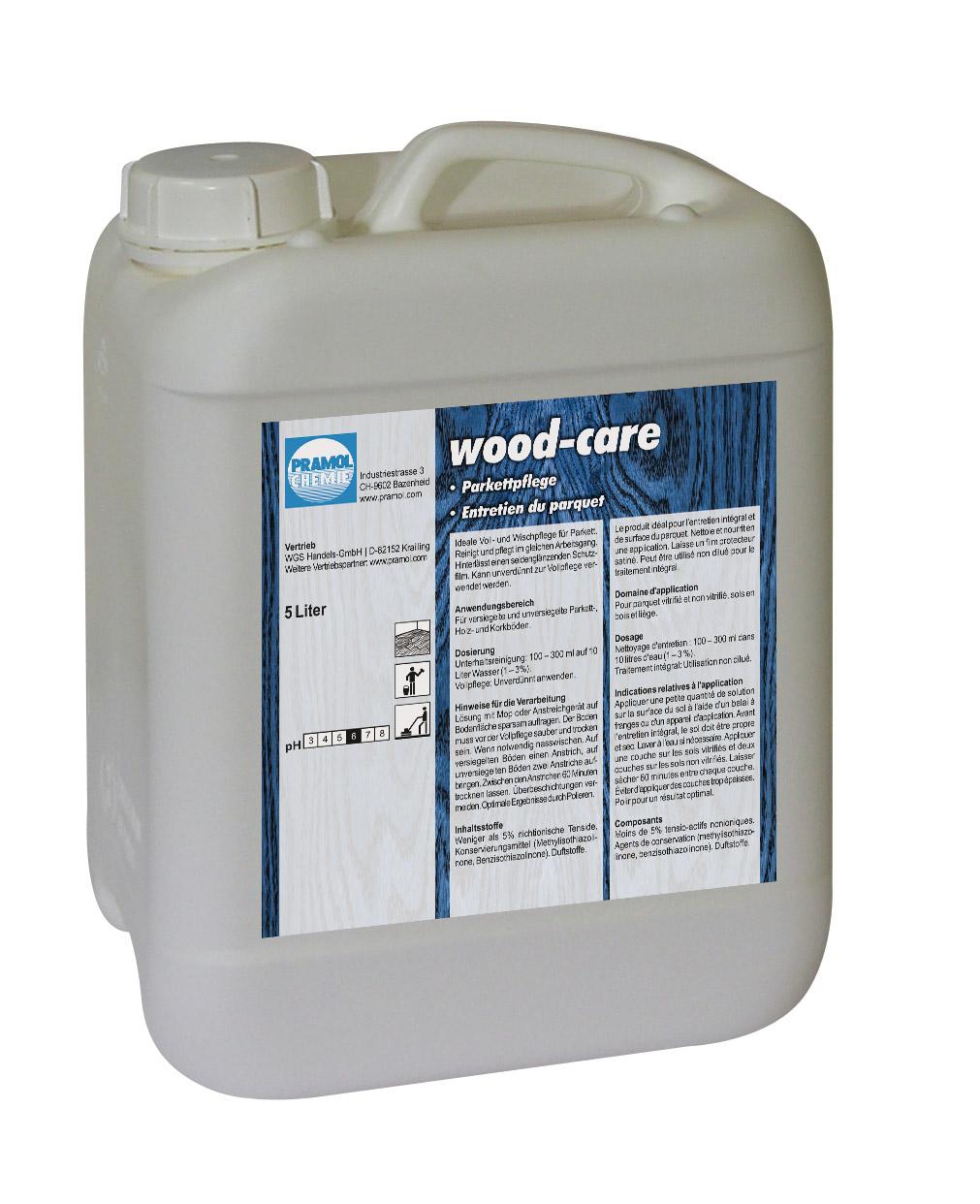 Pramol wood-care, Parkettpflege, Wischpflege mit Wachsanteilen für Parkett, weiß, 5 Liter