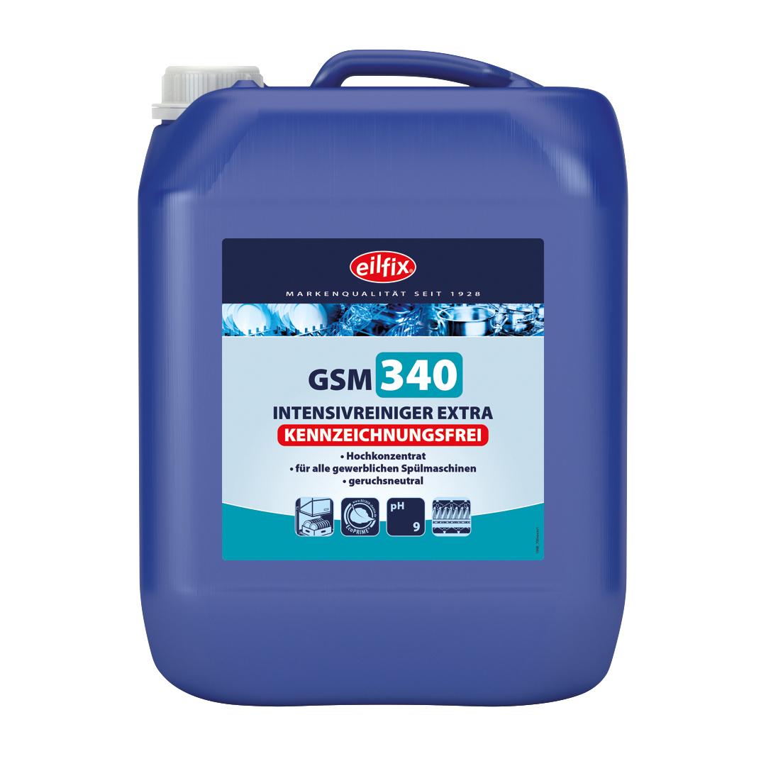 eilfix GSM 340 Green Intensiv-Reiniger Extra, kennzeichnungsfrei, ohne Chlor, für gewerbliche Geschirrspülmaschinen, 10 Liter
