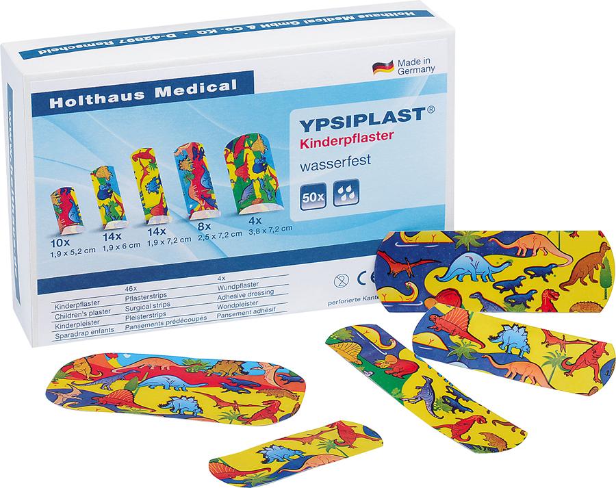 YPSIPLAST Kinderpflaster Pflasterstrip-Sortiment, Dino Motiv, 50 Stück/div. Sorten, diverse Größen