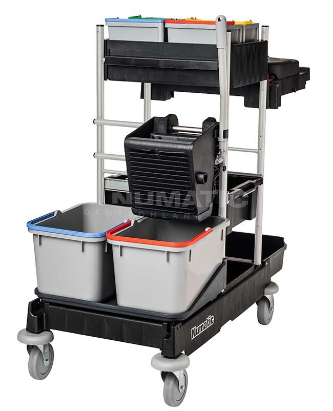 Numatic Reinigungswagen ProCar 7G, 4x5 L Oberflächeneimer, 2x70 L/1x120 L, graphit, 126 x 58 x 115,5 cm