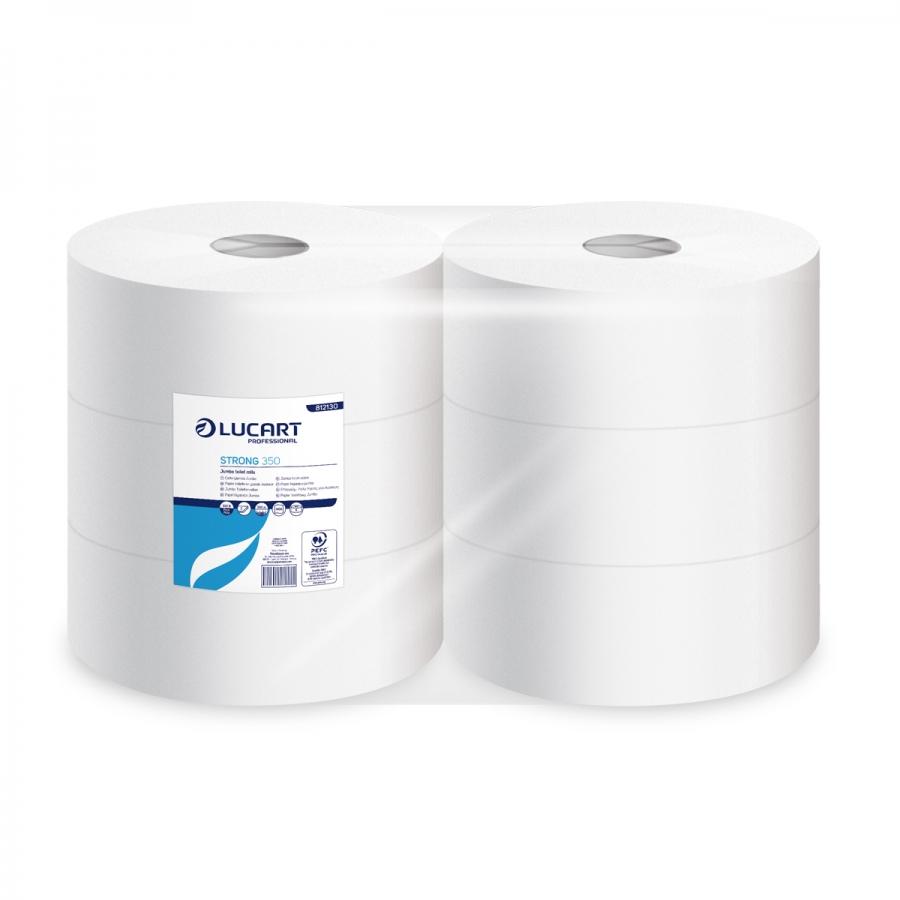 Lucart Prof. Strong 350, Toilettenpapier, Jumborolle, 2-lagig, Maxi, Zellstoff, hochweiß, 350 m, 6 Rollen/Sack