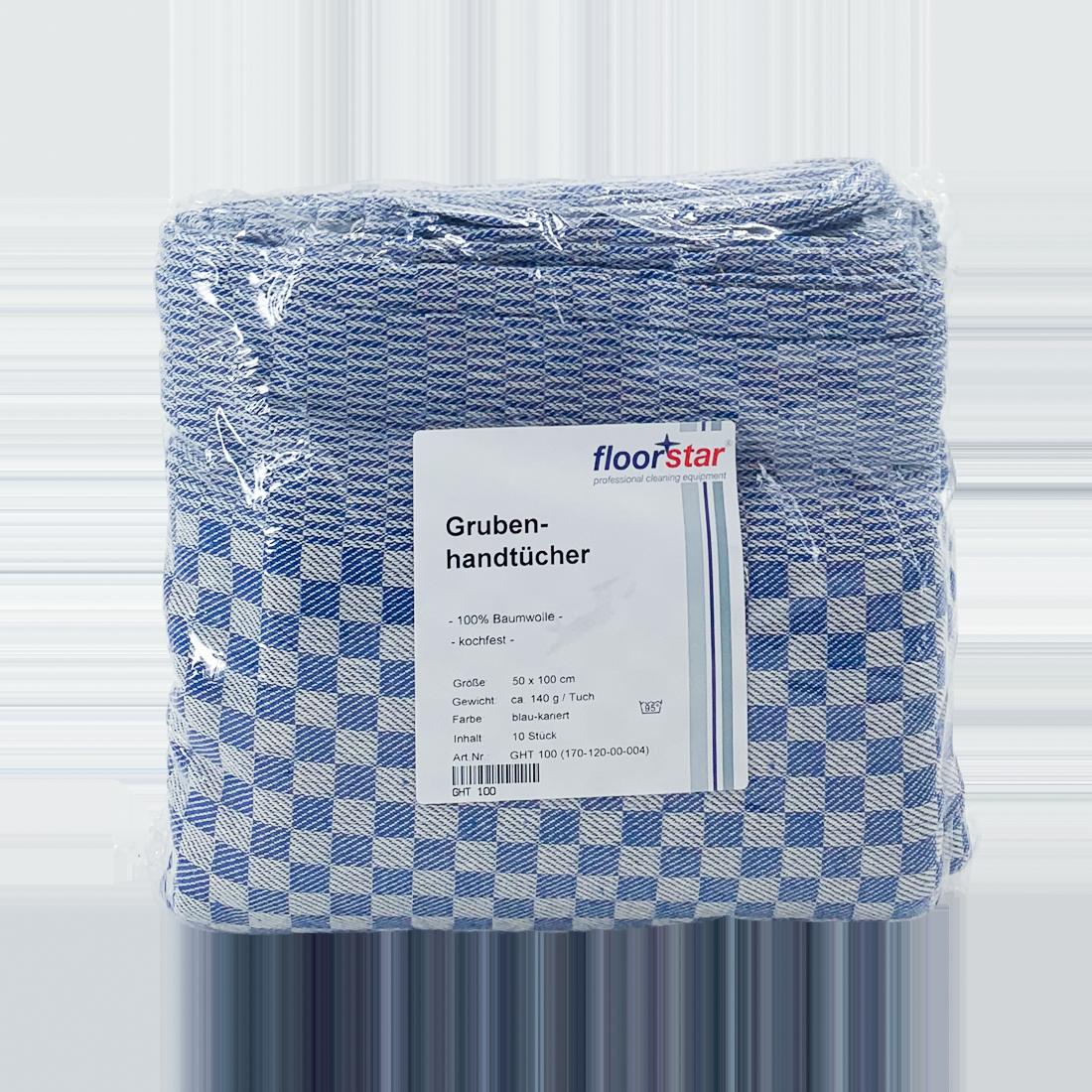 Grubenhandtuch kariert, 100% Baumwolle, 10 Stück/Packung, 100 x 50 cm