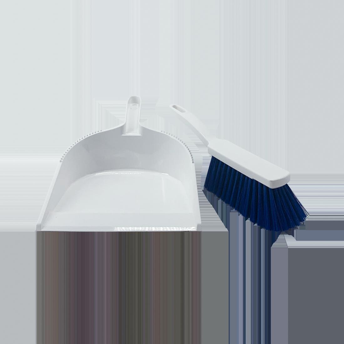 Nölle Haccp Hygiene Kehrgarnitur, blaue Borsten, weißer Körper, 33 cm