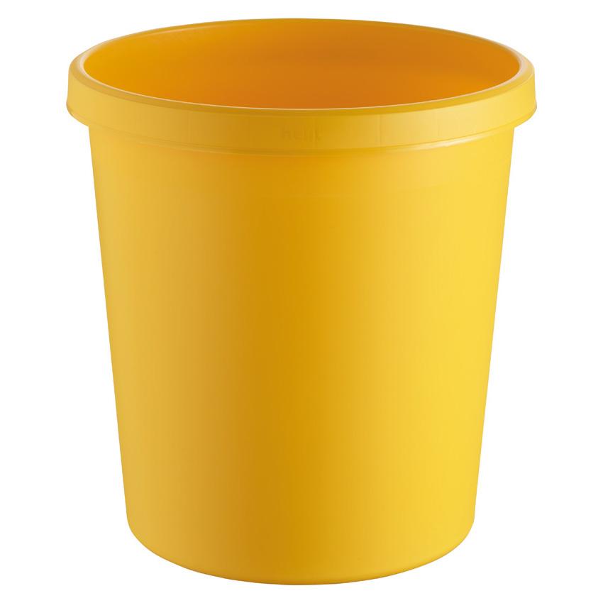 Papierkorb rund, Kunststoff, gelb, 18 Liter