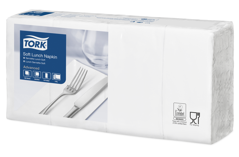 Tork Soft Lunch Napkin Serviette, 3-lagig, 1/8 Falz, 10 x 150 Stück, weiß, 33 x 33 cm