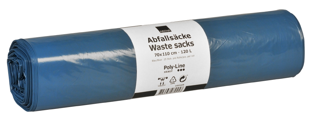 Poly-Line Abfallsack, 50my, LLDPE, 15 x 10 Stück, blau, 70x110cm/ 120 Liter