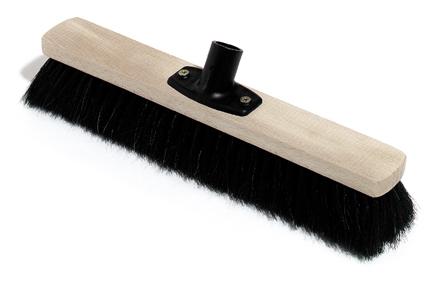 Saalbesen Holz, mit Power Stick Stielhalter, Besteckung: Rosshaar, 40 cm
