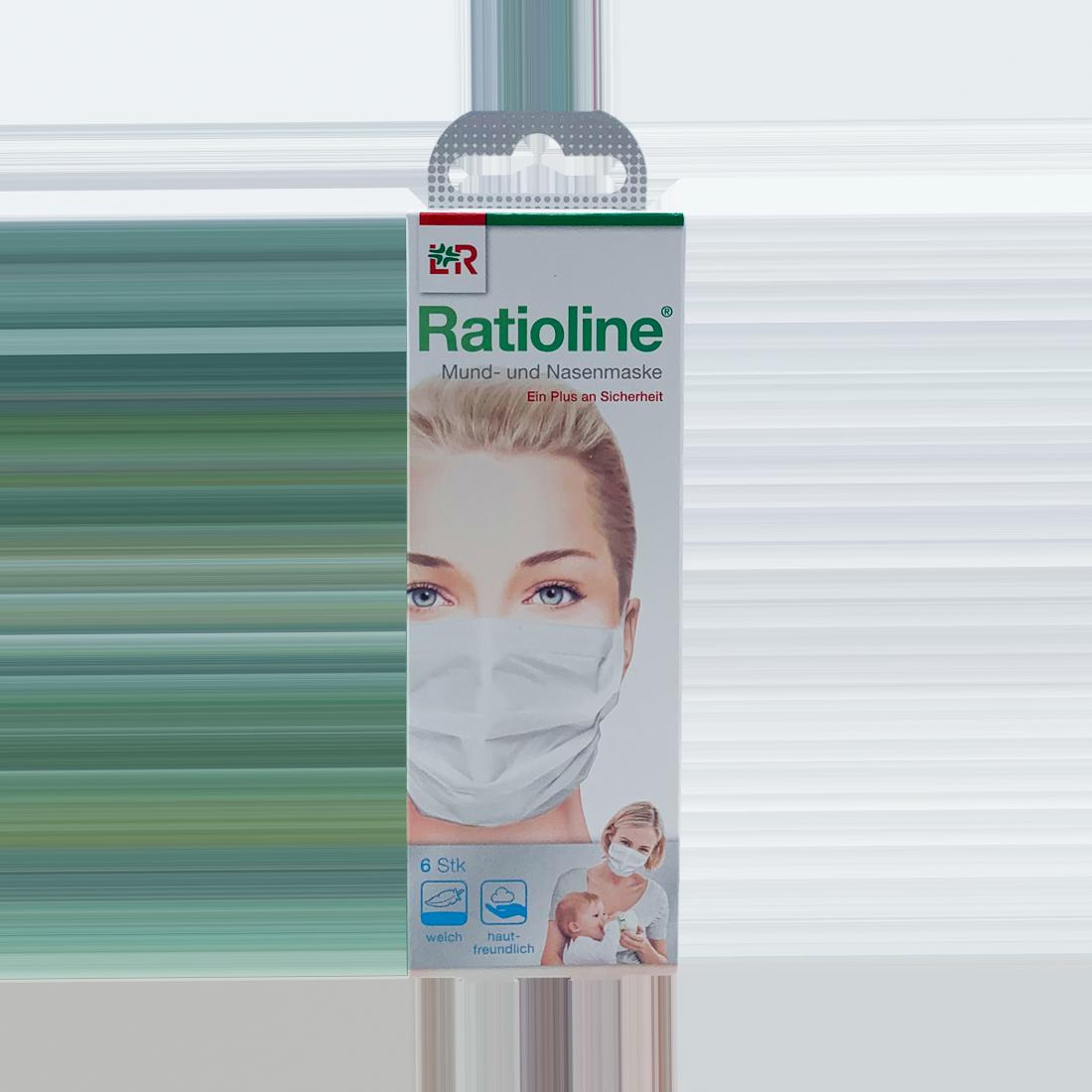 Ratioline Mund- und Nasenmaske, 6 Stück/Packung, weiß