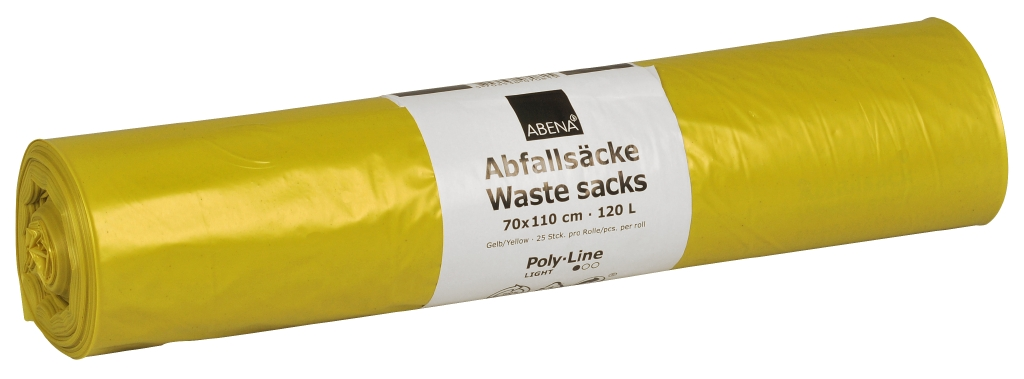 Poly-Line Abfallsack, 34my, LDPE, 10 x 25 Stück, gelb, 70x110cm/ 120 Liter