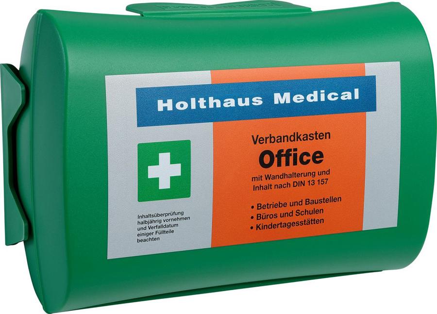 Verbandkasten gefüllt, Betriebe DIN 13157, mit Wandhalterung, grün, 26 x 17 x 9,5 cm