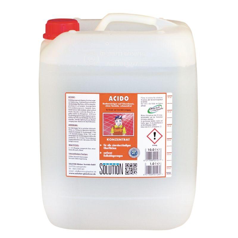 Acido Bodenreiniger, Steingrundreiniger, tensidfrei, sauer, klar, 10 Liter