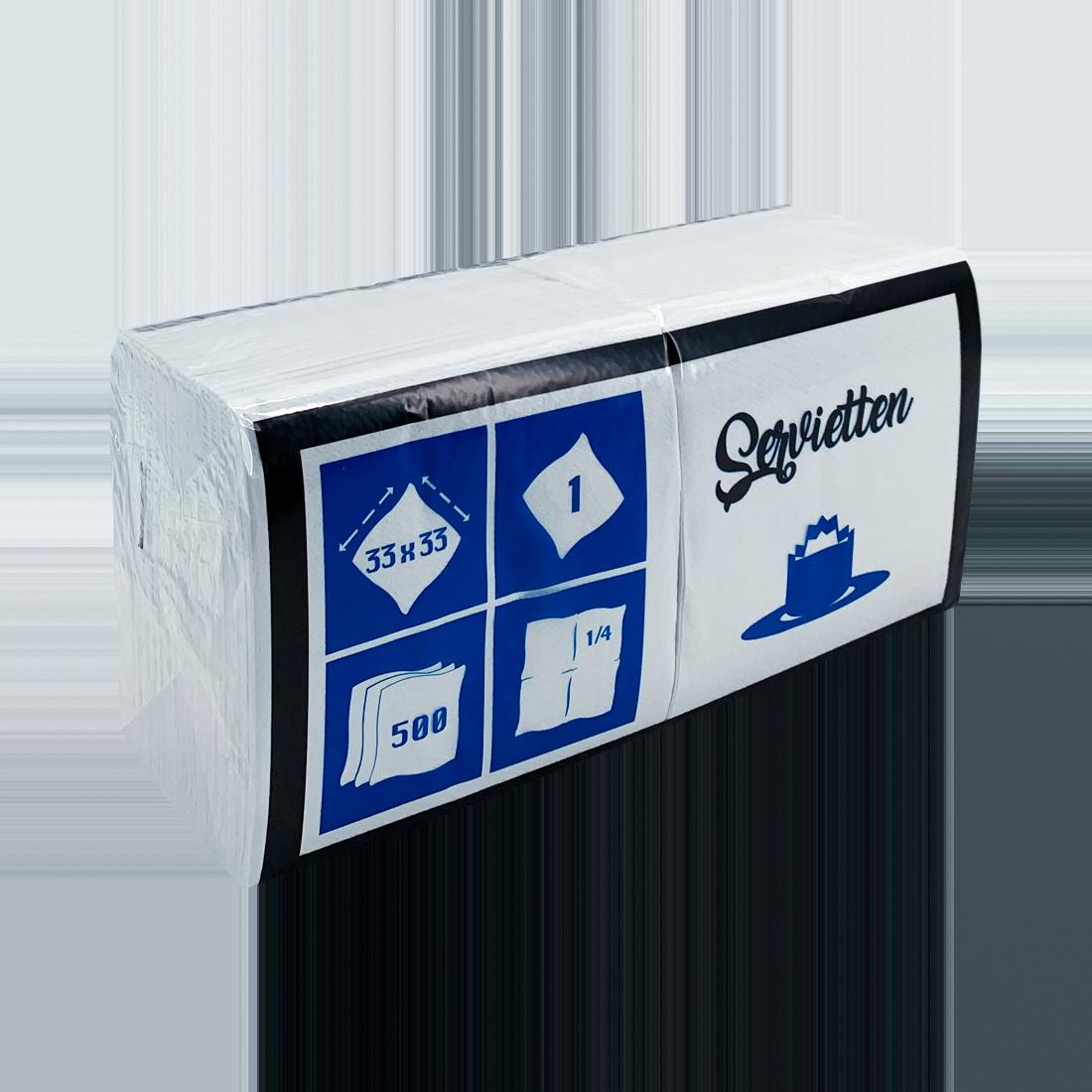 Prägeservietten in 1/4-Falz, 1-lagig, 10 x 500 Stück/Karton, weiß, 33 x 33 cm