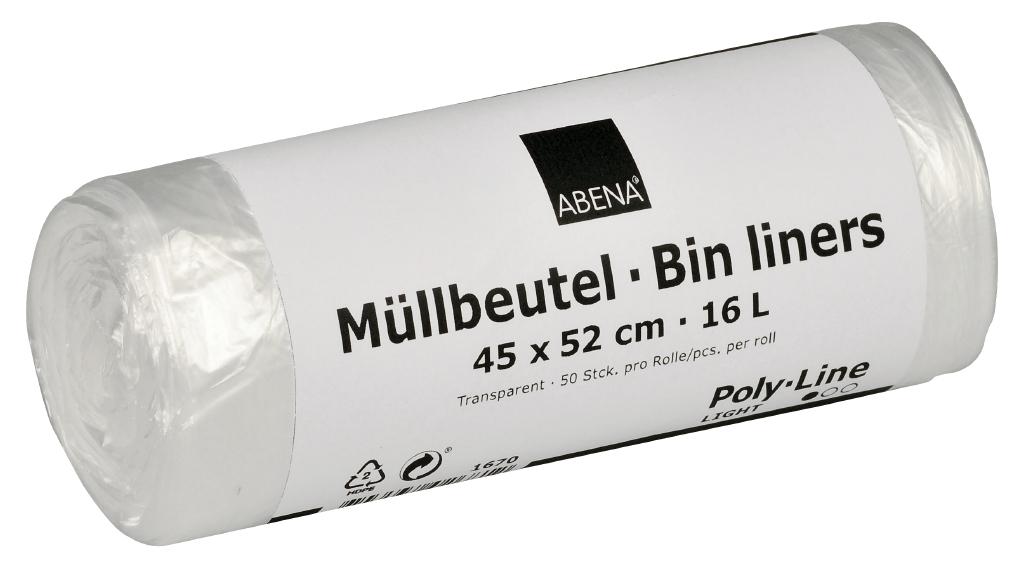 Poly-Line Müllbeutel, 4,5 my, HDPE, 40 x 50 Stück, transparent, 45 x 52 cm/ 16 Liter