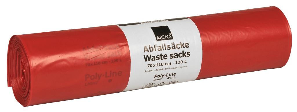 Poly-Line Abfallsack, 34my, LDPE, 10 x 25 Stück, rot, 70x110cm/ 120 Liter