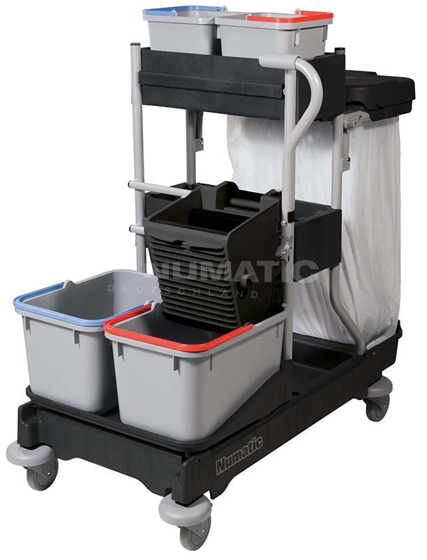 Numatic Reinigungswagen ProCar 5G, 2x6 L Oberflächeneimer, 2x70 L/1x120 L, graphit, 111 x 58 x 113 cm