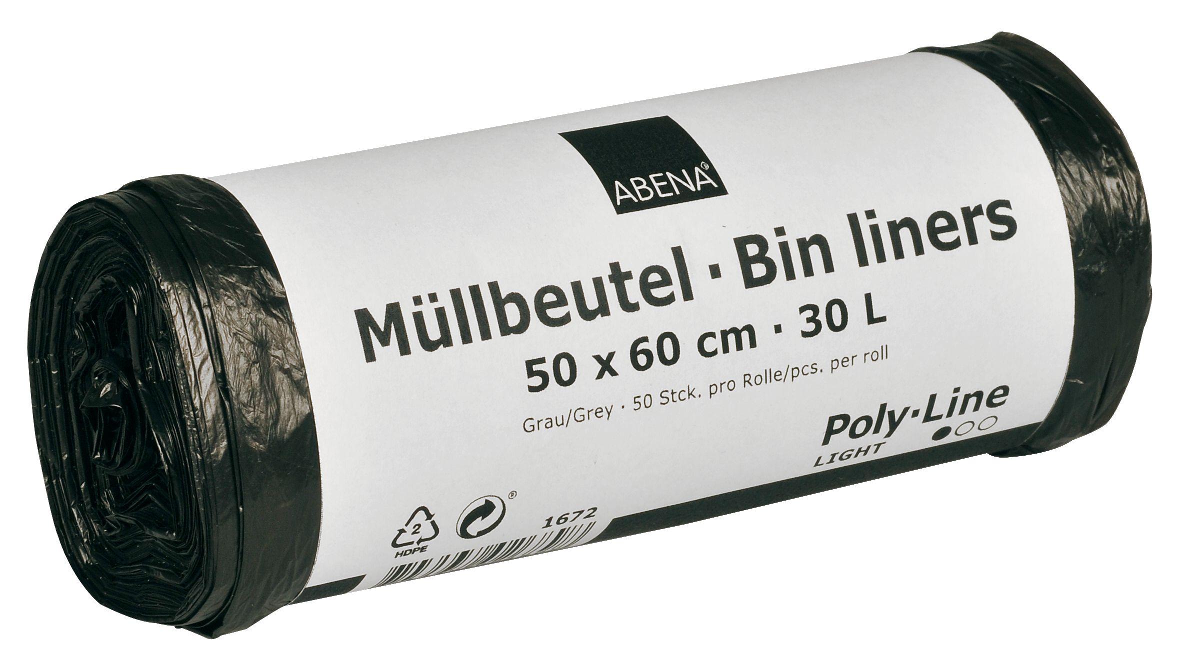 Poly-Line Müllbeutel,4,5my, HDPE, 40 x 50 Stück, grau, 50 x 60 cm/ 30 Liter