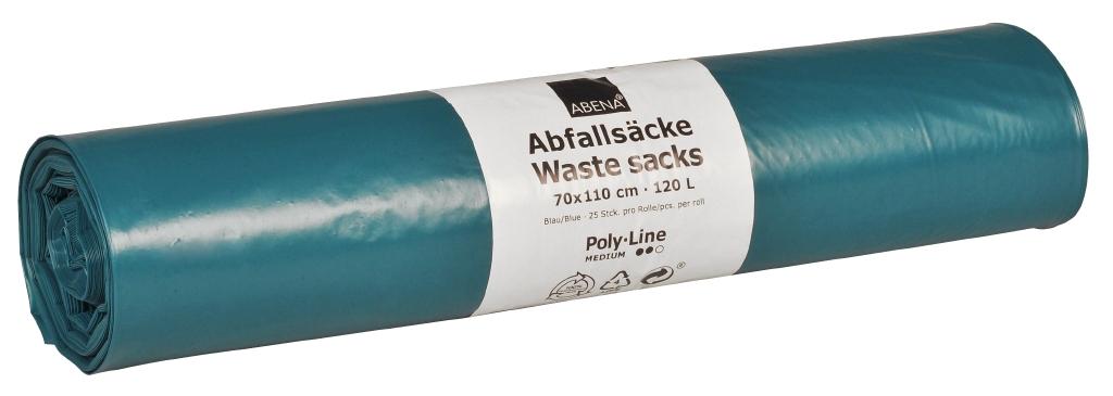 Poly-Line Abfallsack, 38my, LDPE, 10 x 25 Stück, blau, 70x110cm/ 120 Liter