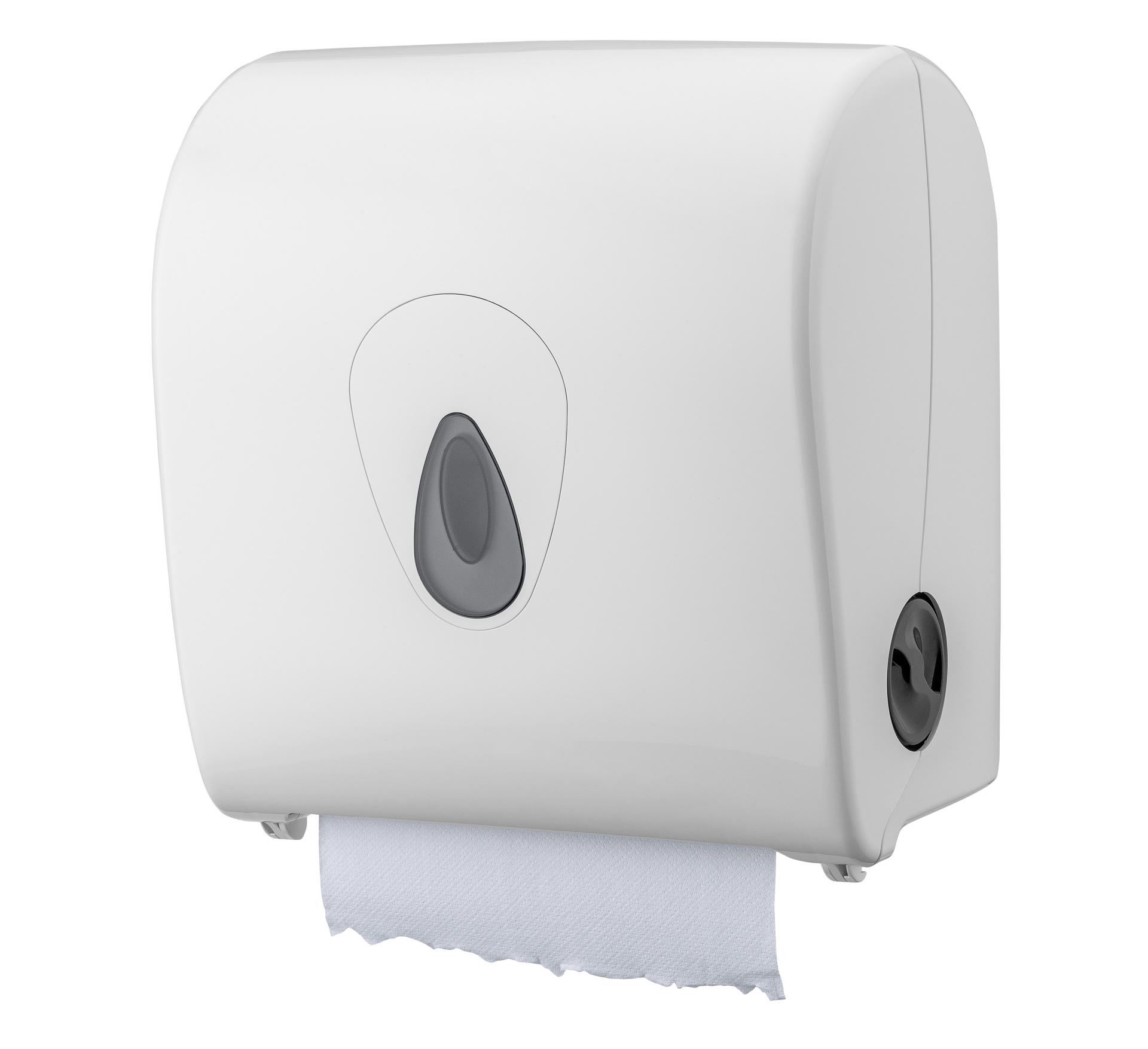 Handtuchrollenspender Autocut, Außenabrollung, weiß, 33 x 31 x 21 cm
