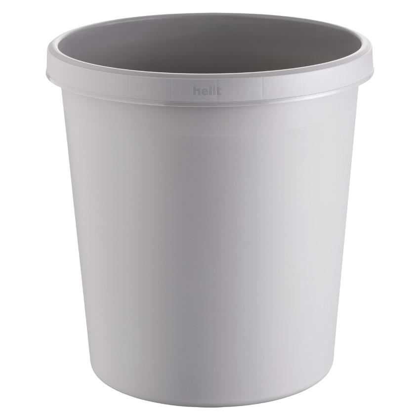 Papierkorb rund, Kunststoff, hellgrau, 18 Liter