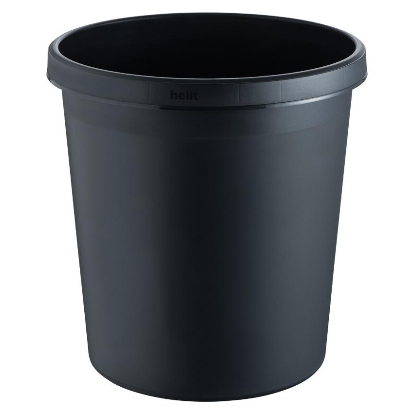 Papierkorb rund, Kunststoff, schwarz, 18 Liter