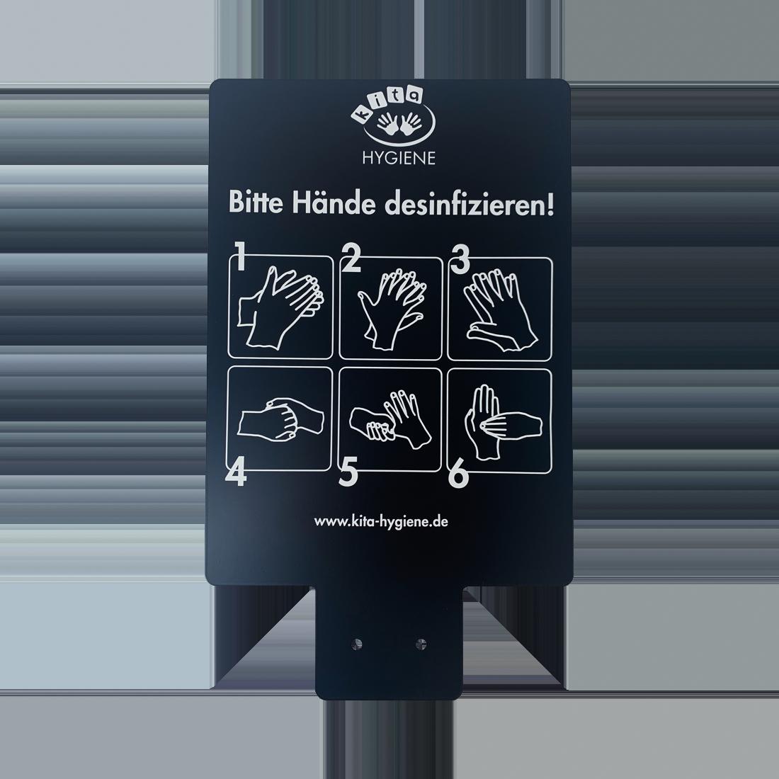 Infotafel für Desinfektionssäule 55939, schwarz, pulverbeschichtet, mit DIN A4 Aufkleber für Händehygiene, schwarz, 320 x 230 x 1,25 mm