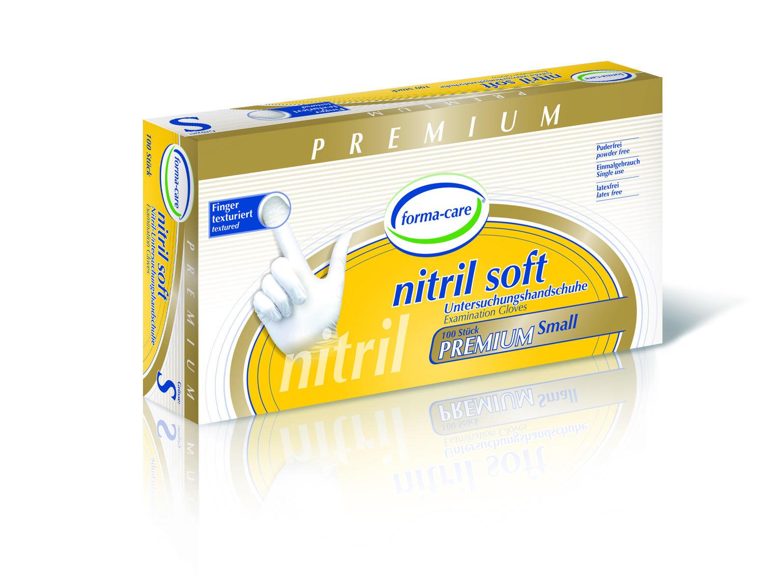 forma-care Handschuh Nitril Premium soft S, 10 x 100 Stück, puderfrei, weiß, Gr. S