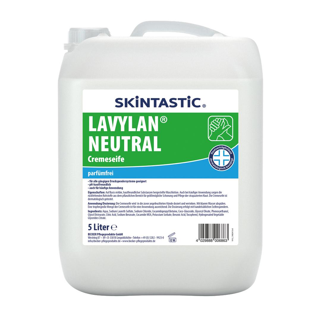 Skintastic Cremeseife Lavylan Neutral, parfümfrei, rückfettend, dermatologisch getestet, weiß, 5 Liter