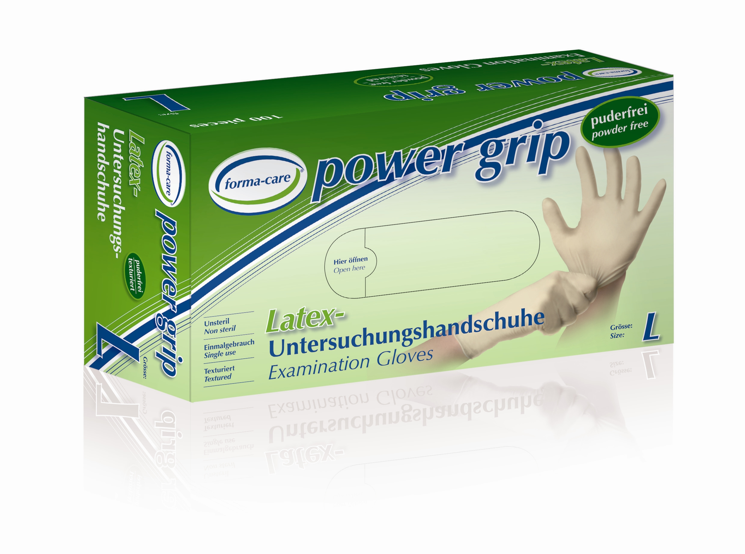 forma-care Handschuh Latex power grip L, 10 x 100 Stück, puderfrei, weiß, Gr. L