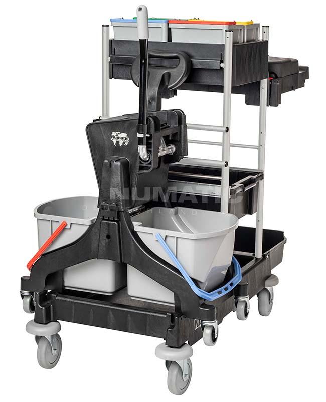 Numatic Reinigungswagen ProCar 7 Plus, 4x5 L Oberflächeneimer, 2x70 L/1x120 L, graphit, 126 x 70 x 120 cm