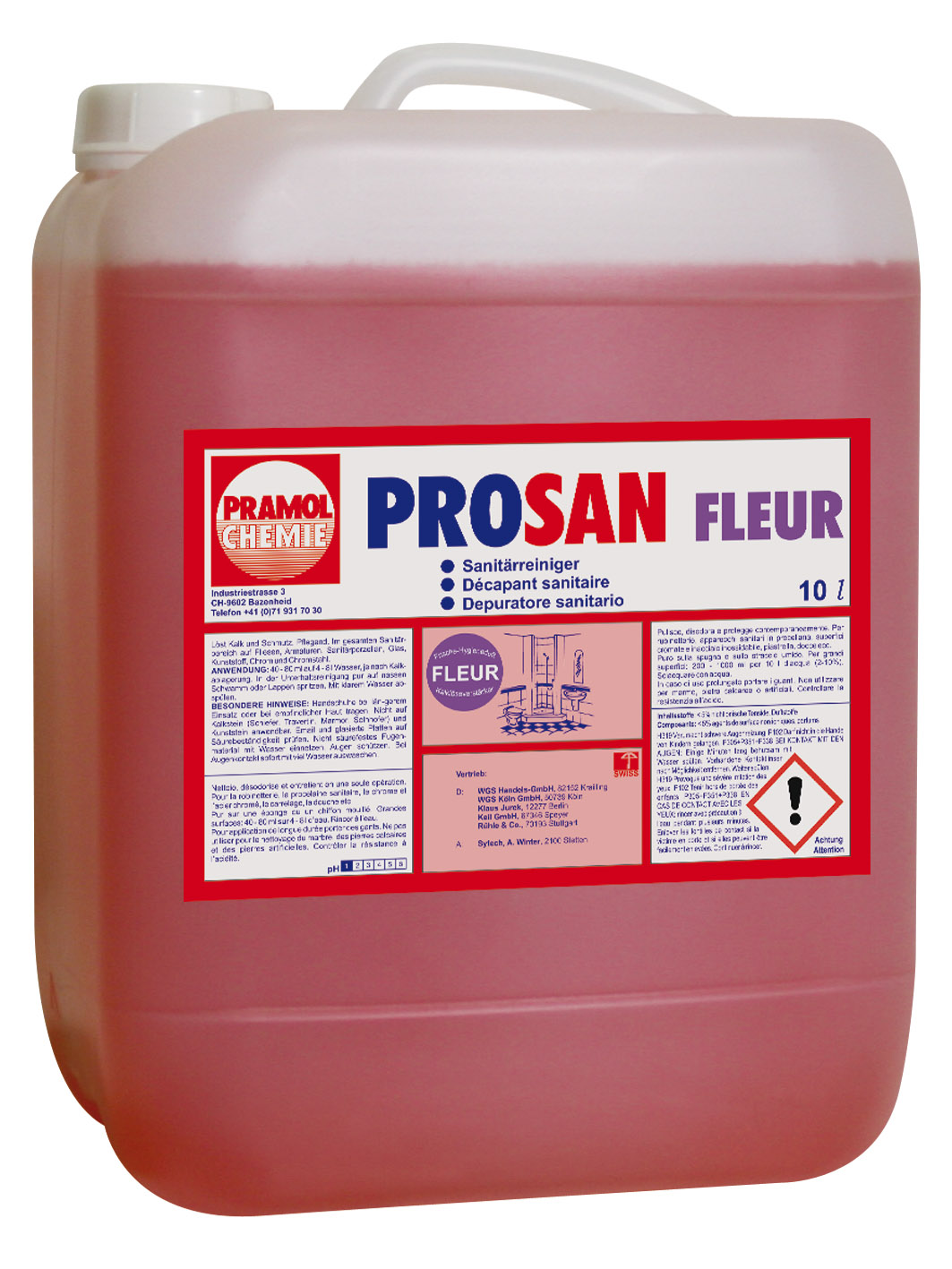Pramol PROSAN Fleur Sanitärreiniger, rot, 10 Liter