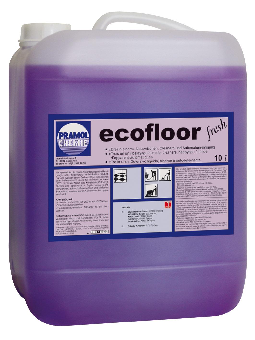 Pramol ECOFLOOR fresh, Wischpflege auf Polymerbasis, erfüllt DIN18032, 10 Liter