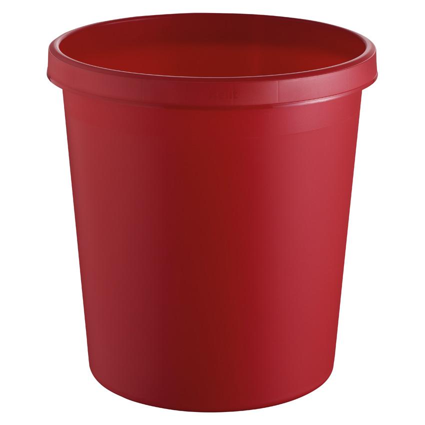 Papierkorb rund, Kunststoff, rot, 18 Liter