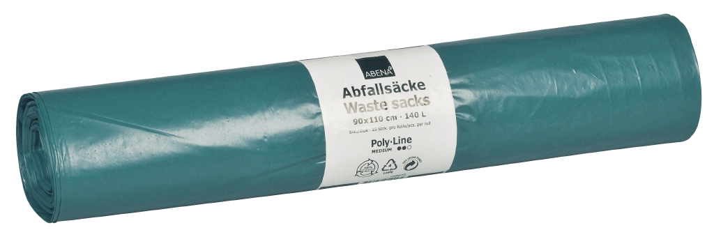 Poly-Line Abfallsack, 38my, LDPE, 10 x 25 Stück, blau, 90x110cm/ 140 Liter