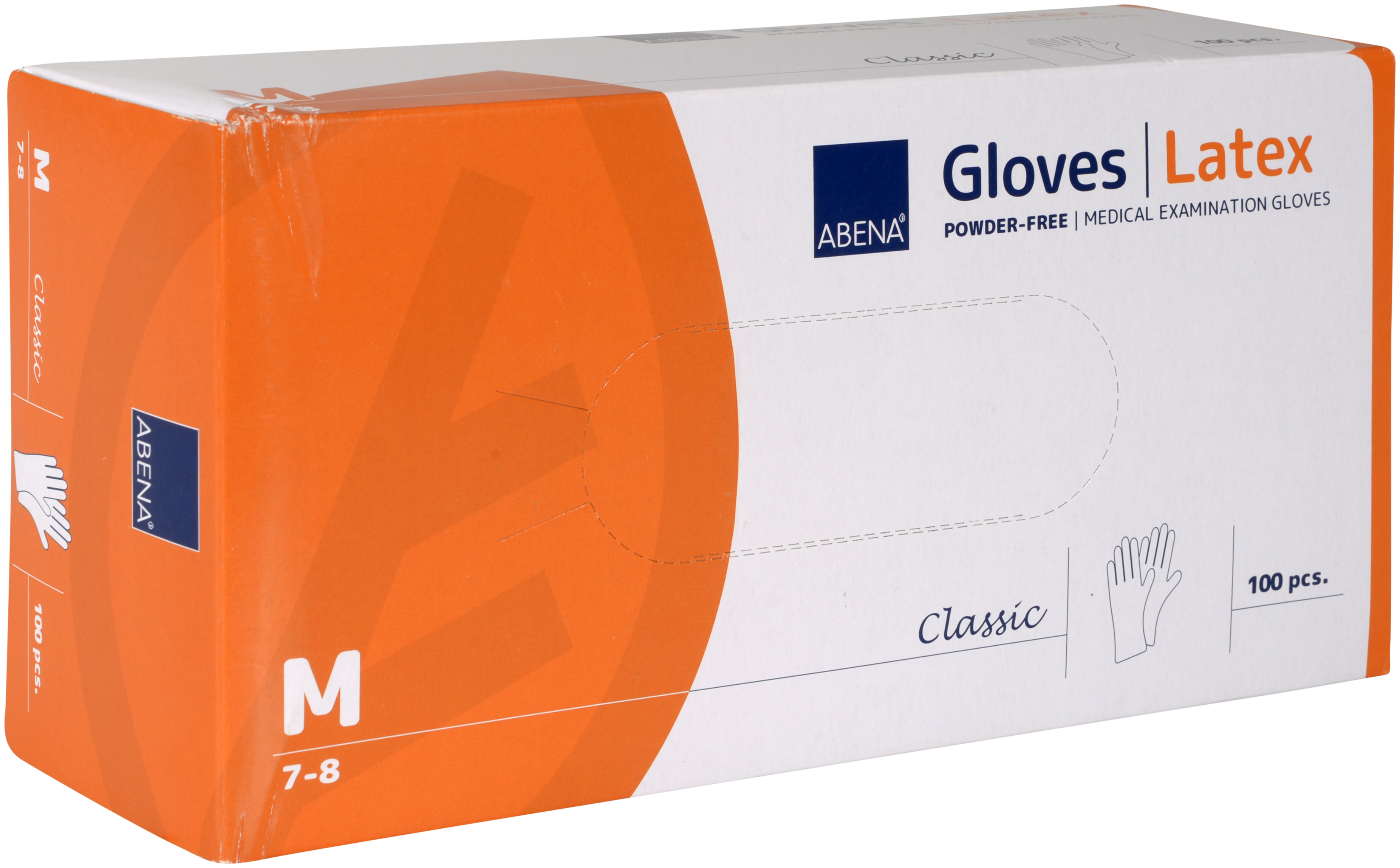 Abena Classic Latex Handschuh Größe M, 10 x 100 Stück, puderfrei, weiß, Gr. M