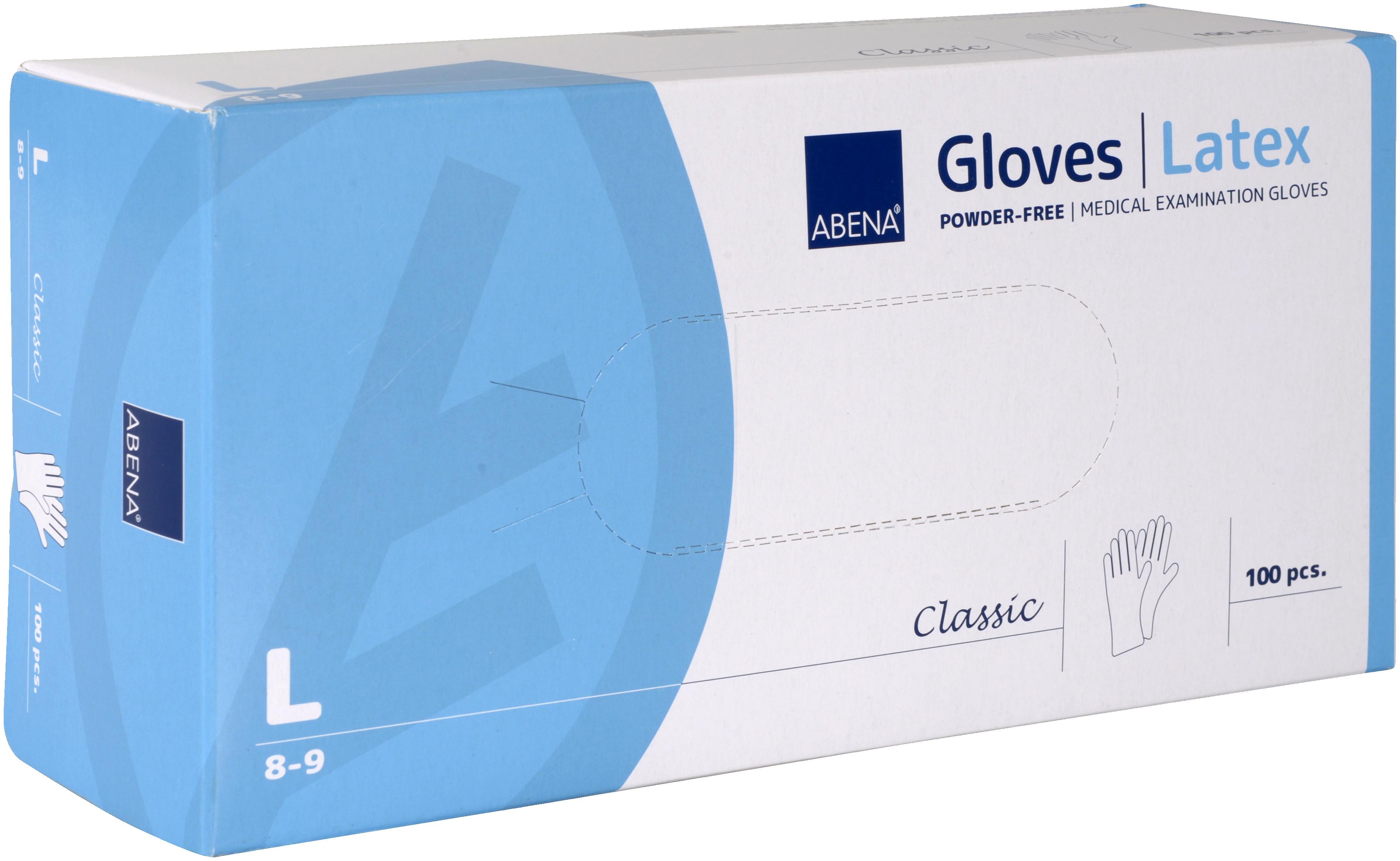 Abena Classic Latex Handschuh Größe L, 10 x 100 Stück, puderfrei, weiß, Gr. L