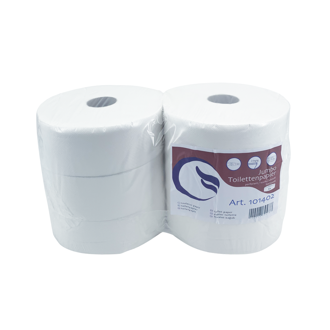 Toilettenpapier, Jumborolle, 2-lagig, maxi, reiner Zellstoff, 6 Rollen/Karton, hochweiß, 300 m
