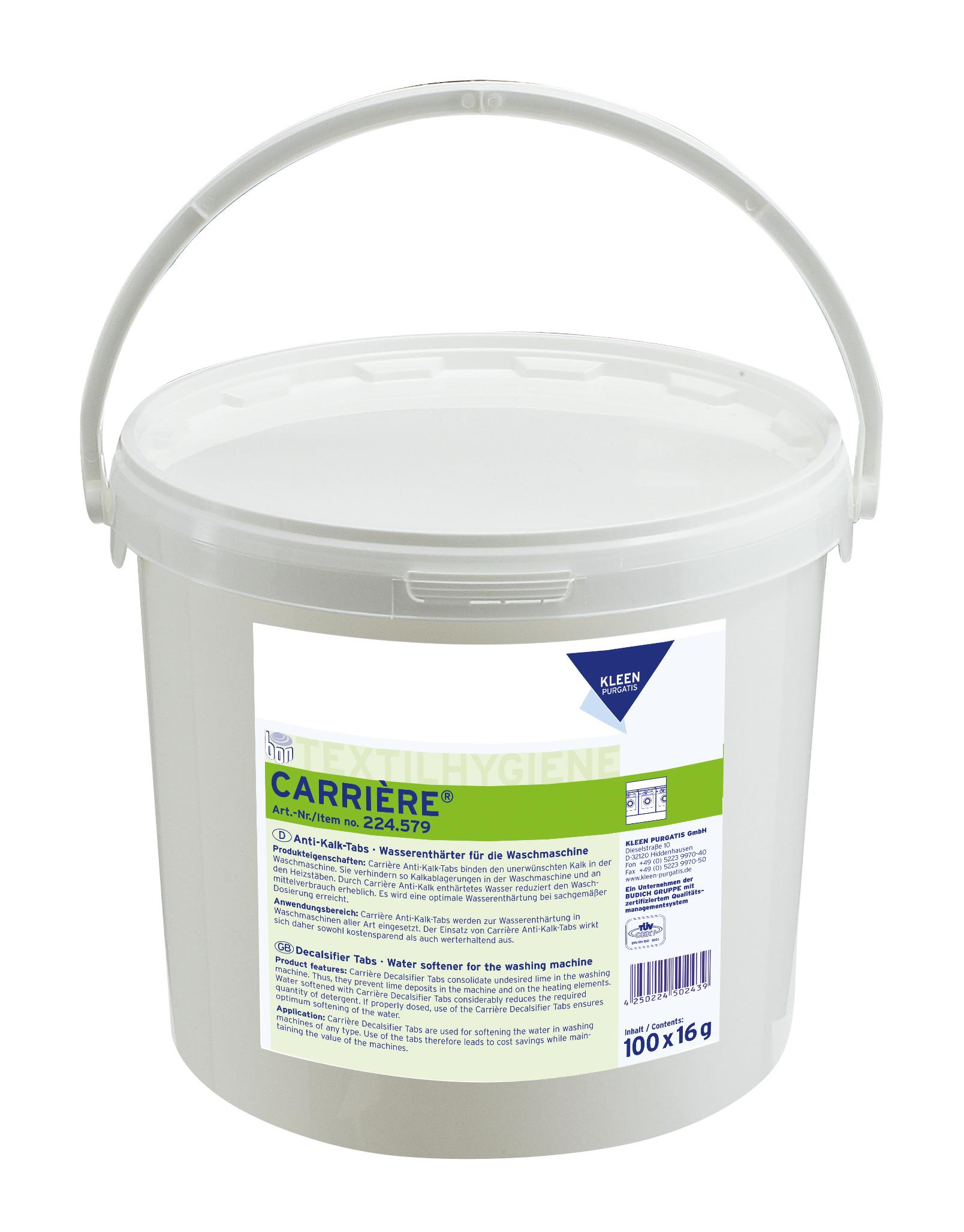 Carrière Anti Kalk Tabs für die Waschmaschine, 100 Stück/Eimer, 100 x 16 g