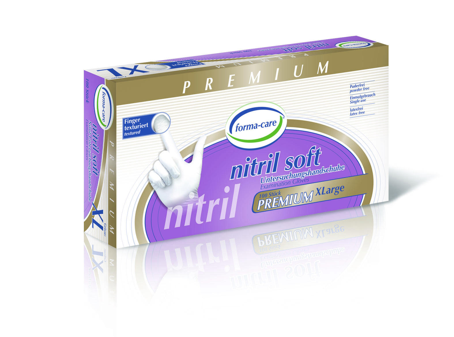 forma-care Handschuh Nitril Premium soft XL, 10 x 100 Stück, puderfrei, weiß, Gr. XL