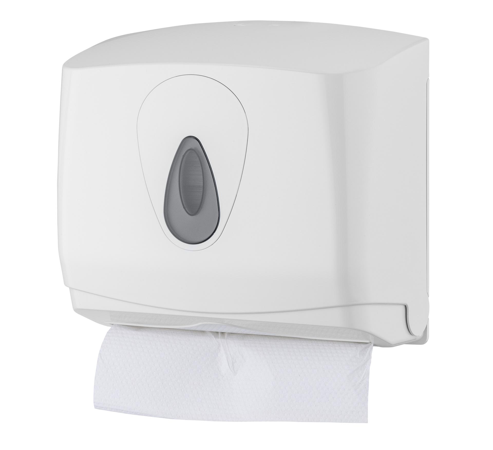 Falthandtuchspender Mini zur Wandmontage, weiß, 26 x 29 x 14 cm