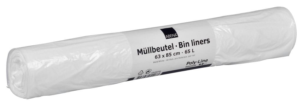 Poly-Line Müllbeutel, 13my, LDPE, 9 x 40 Stück, weiß, 63 x 85 cm/ 65 Liter