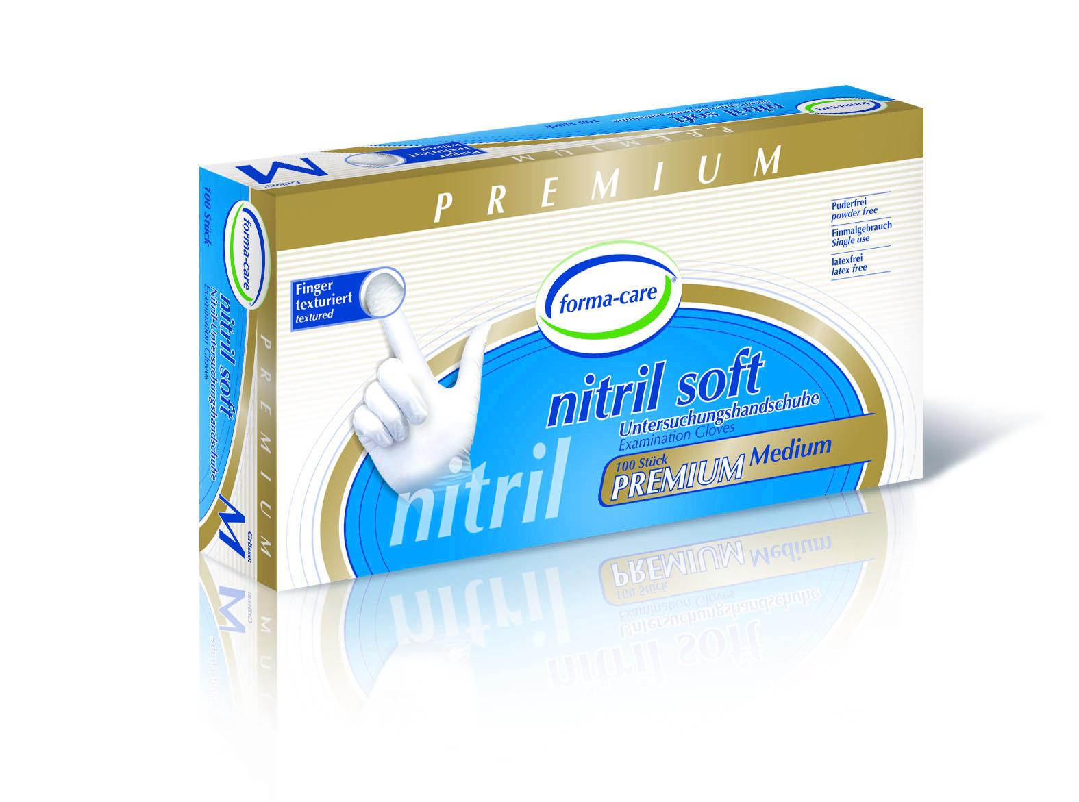 forma-care Handschuh Nitril Premium soft M, 10 x 100 Stück, puderfrei, weiß, Gr. M