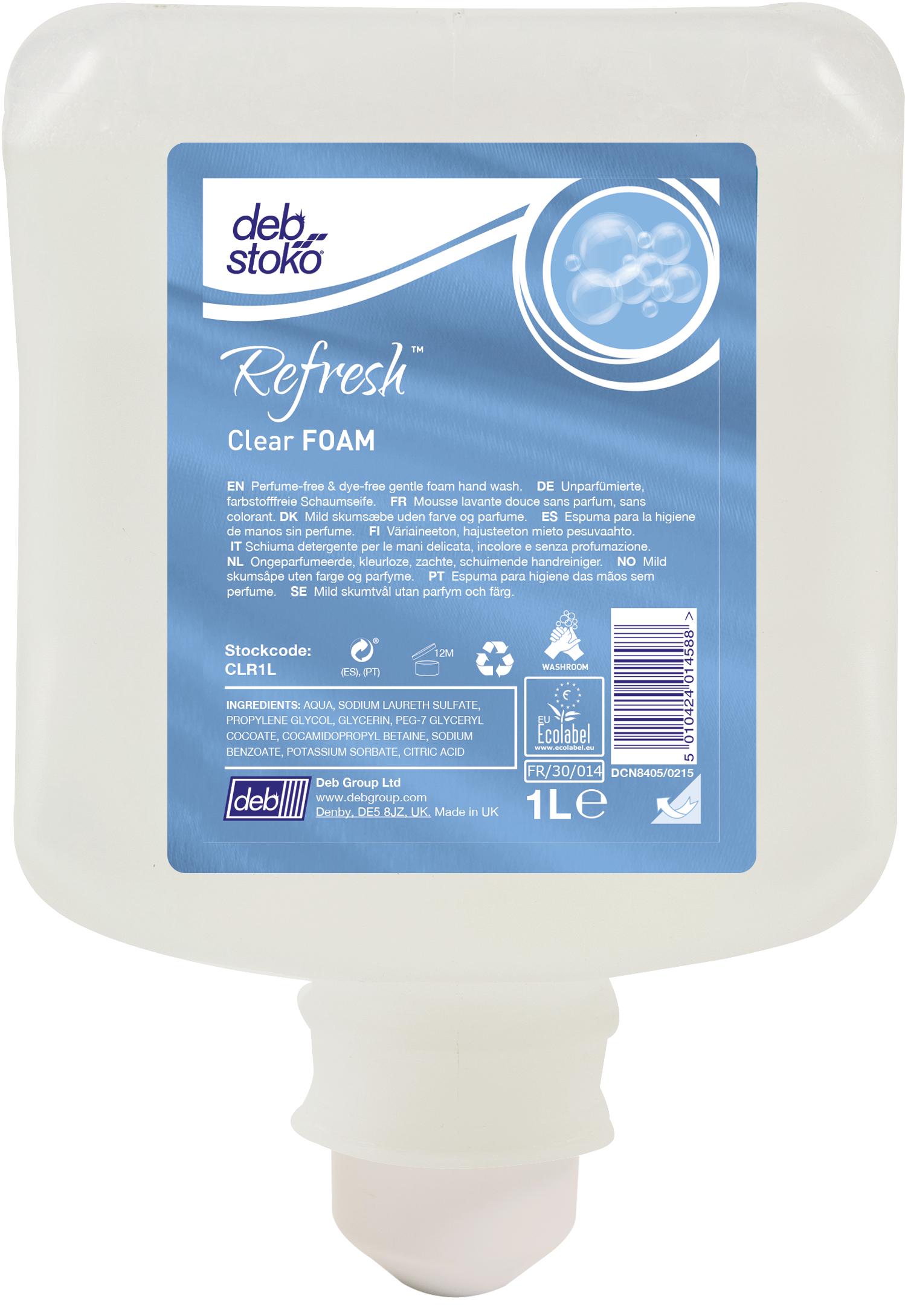DEB milde Schaumseife Clear Foam Wash, CLR1L, duft und farbstofffrei, 1 Liter