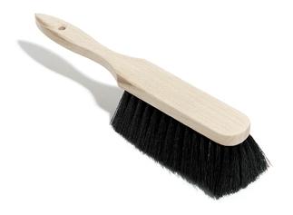 Handfeger Holz, unlackiert, Besteckung: Rosshaarmischung, schwarz, 28 cm
