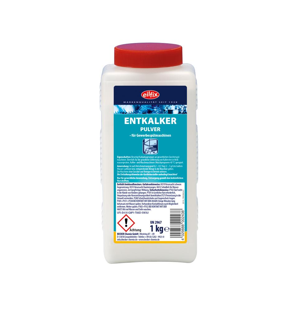 eilfix Entkalker Pulver, für gewerbliche Spülmaschinen/Heißwassergeräte, 1 kg